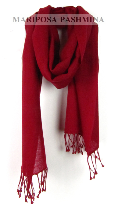 PASHMINA S - SMALL CASHMERE SCARF - RED
